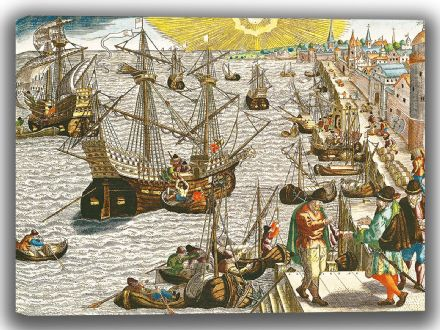 Bry, Theodore de: Departure from Lisbon for Brazil, the East Indies and America. Fine Art Canvas. Sizes: A4/A3/A2/A1 (003629)